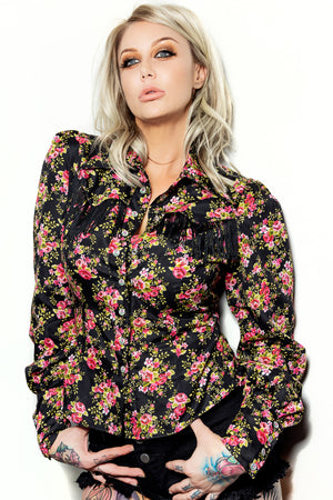 Rose print bishop Western Shirt