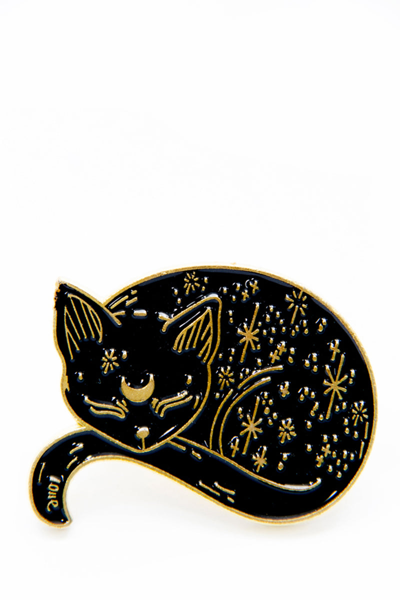 Witch Cat- Sleeping black cat enamel pin - shopjessicalouise.com