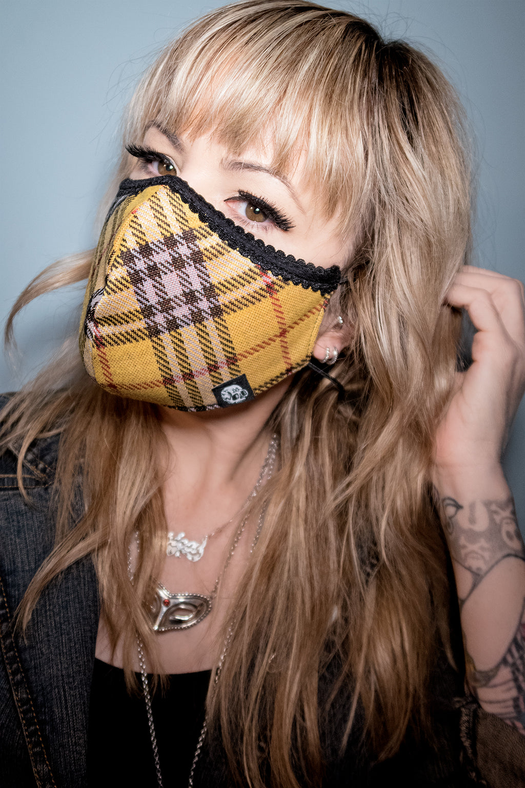 Yellow plaid Face Mask - shopjessicalouise.com