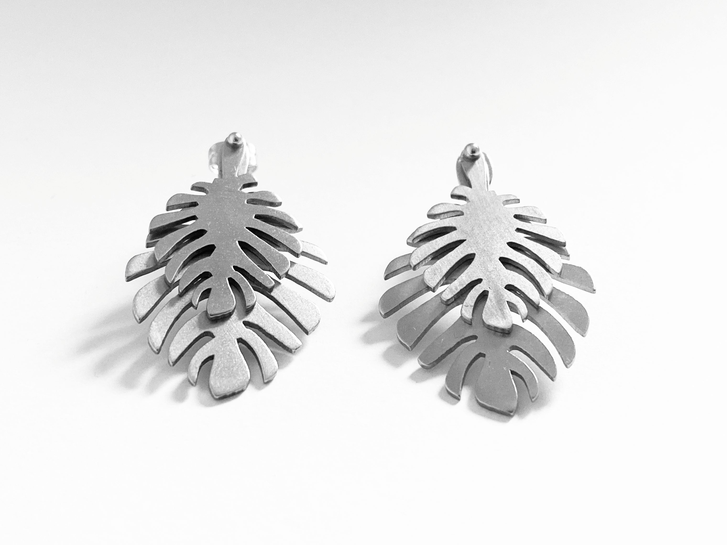 Monstera Inox Frontback Earrings