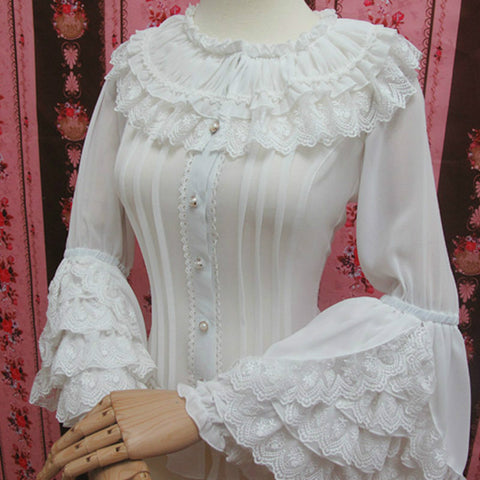 Chiffon White Shirt with Layered Lace Ruffles