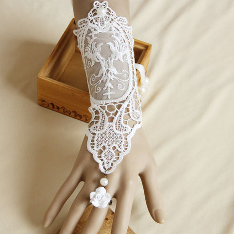 Handmade White Flower Rose Lace Gloves