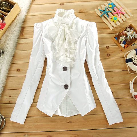 Lolita Style Royal Ruffle Long-Sleeve White Black Shirt