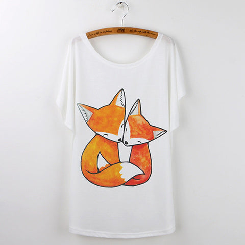Harajuku Cute Fox Short Sleeve White T-Shirts