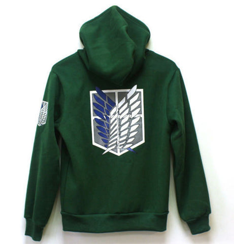 Attack on Titan Cosplay Costumes Hoodie Green Black Scouting Legion Hooded Sweater