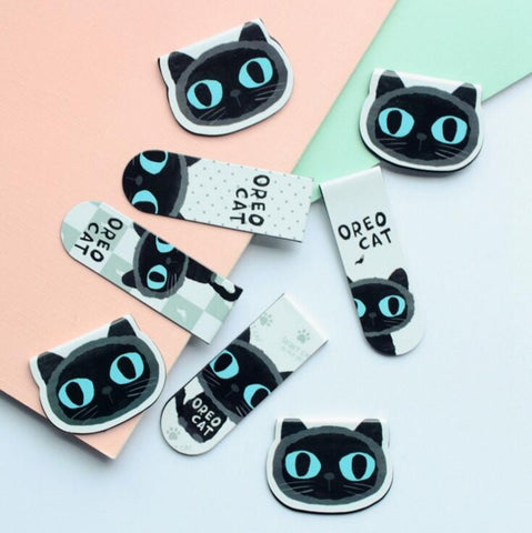 Cute Black Cat Magnet Bookmark Paper Clip - Pack Of 2 Pieces
