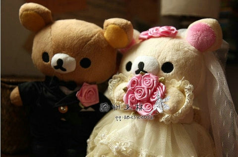 Rilakkuma & Bride Bear Plush 30x50cm  - Type 2
