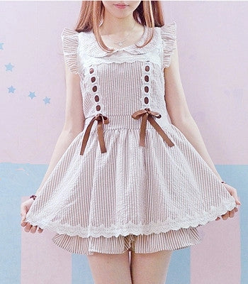 2016 Summer Bandage  Bow dress & striped lace - Kawaii Honbu