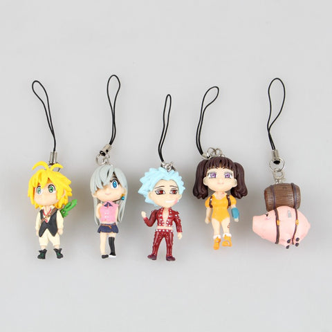 5pcs/set The Seven Deadly Sins Anime Figure Toys and Keychains