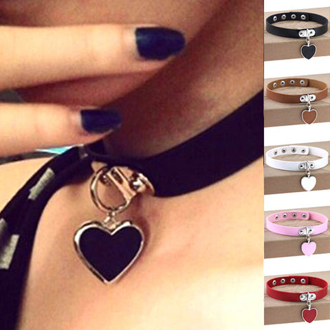 Sexy Punk Gothic Leather Heart Pendant Choker Necklace