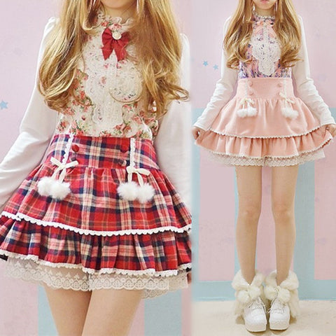 Cute Red Plaid & Pink Skirt Shorts - Kawaii Honbu