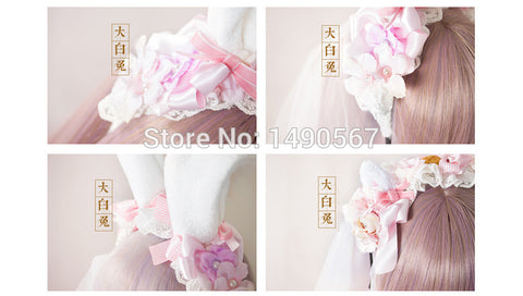 Japanese style Sweet Lolita Handmade Headwear bow bunny/cat ear