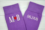 Monogrammed Men's Lilac Purple Heart Dress Socks