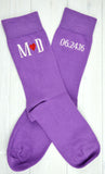 Monogrammed Men's Lilac Purple Wedding Dress Socks