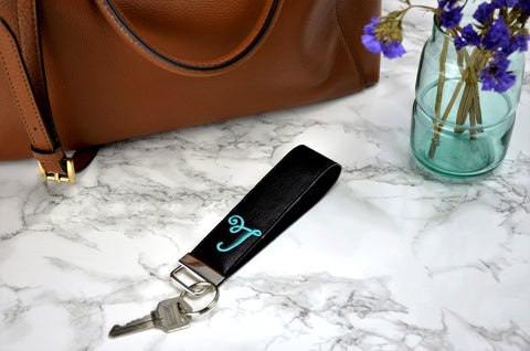 Single Letter Monogrammed Key Chain Wristlet