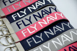 Fly Navy Embroidered Key Chain Wristlet