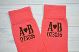 Coral Groomsmen Wedding Socks