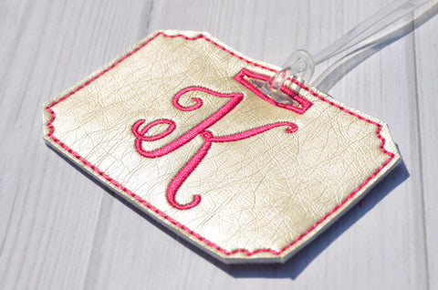 Single Letter Monogrammed Luggage Tag