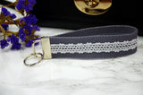 Gray Lace Key Chain Wristlet