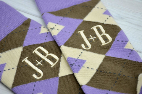 Monogrammed Men's Orchid Purple, Brown, and Cream Argyle Socks