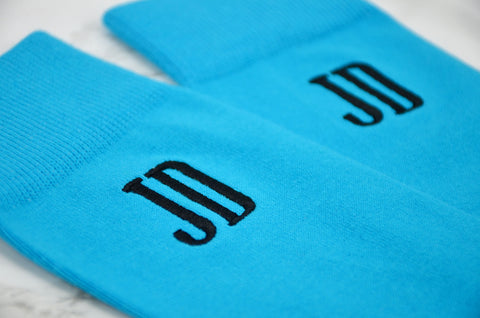 Monogrammed Men's Malibu Blue Dress Socks
