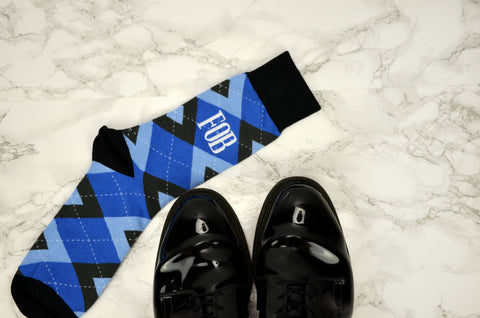 Monogrammed Men's Blue and Black Argyle Groom Dress Socks