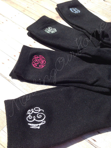 Women's Black Casual Monogrammed Socks