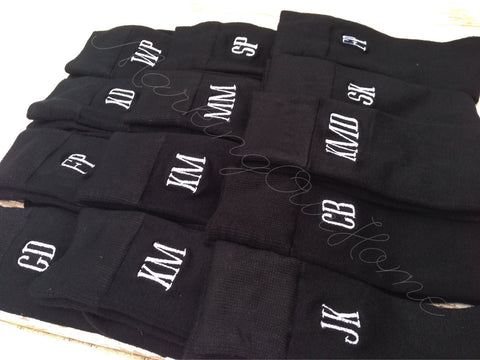Monogrammed Men's BLACK Dress Socks