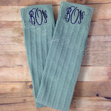 Light Blue Monogrammed Boot Socks
