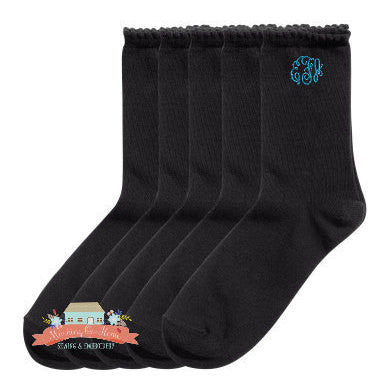 Women's Casual Black Scalloped Monogram Socks