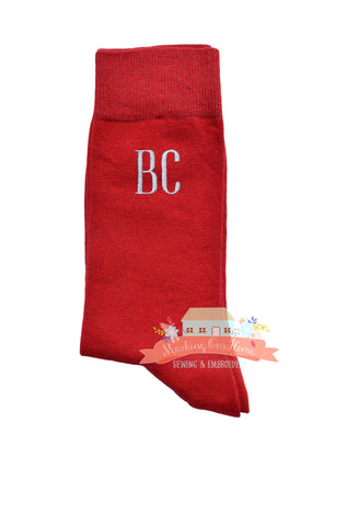Groom Socks, Wedding Socks, Groomsmen Socks, Monogrammed Socks, Men's Dress Socks, Men's Gift Idea - Apple Red