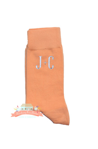 Groom Socks, Wedding Socks, Groomsmen Socks, Monogrammed Socks, Men's Dress Socks, Men's Gift Idea - Blossom Pink