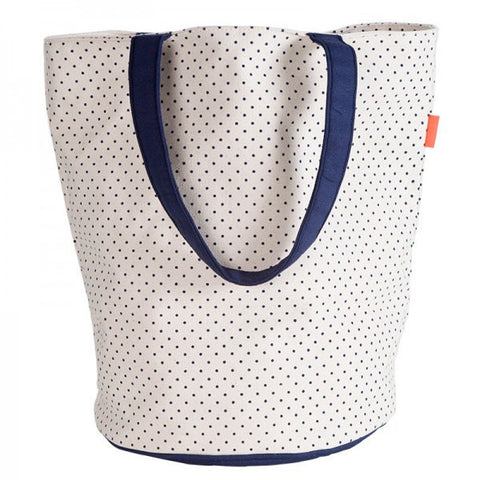 Round Bottom Polka Dot Tote - White