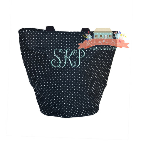 Round Bottom Polka Dot Tote - Navy