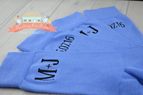 Groom Socks, Wedding Socks, Groomsmen Socks, Monogrammed Socks, Men's Dress Socks, Men's Gift Idea - LIGHT BLUE