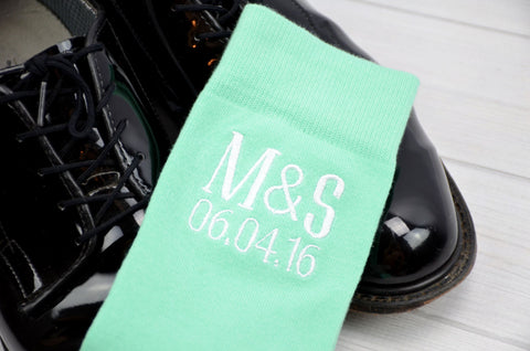 Monogrammed Socks - Personalized Socks - Custom Socks - Black Socks - Mens Socks - Mens Mint Socks - Groomsmen Gifts - Wedding Party Gifts
