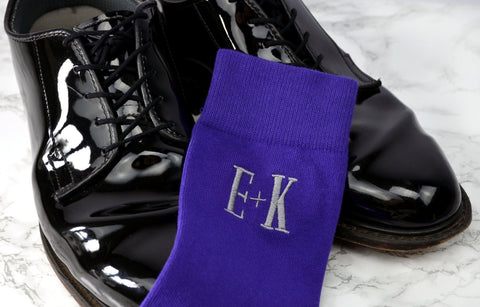 Monogrammed Socks - Personalized Socks - Custom Socks - Mens Socks - Mens Purple Socks - Groomsmen Gifts - Wedding Party Gifts