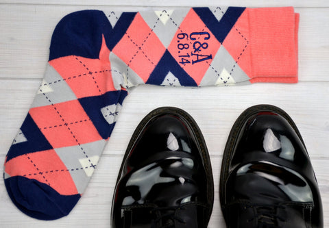 Monogrammed Socks - Personalized Socks - Custom Socks - Coral Socks - Mens Socks - Mens Argyle Socks - Groomsmen Gifts - Wedding Party Gifts