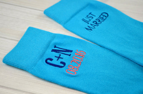 Groom Socks, Wedding Socks, Groomsmen Socks, Cold Feet Socks, Monogrammed Socks, Men's Dress Socks, Men's Gift Idea - Malibu Blue