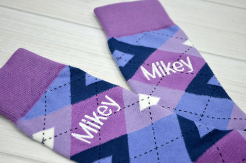 Monogrammed Men's Purple Argyle Dress Socks