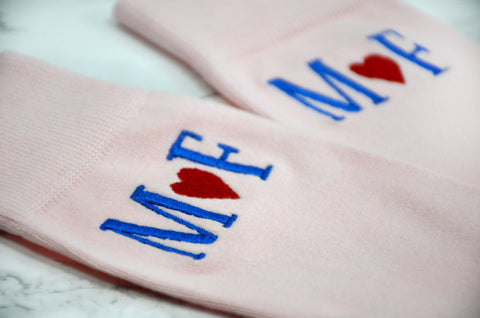 Monogrammed Socks - Personalized Socks - Custom Socks -Pink  Socks - Mens Socks - Mens Pink Socks - Groomsmen Gifts - Wedding Party Gifts