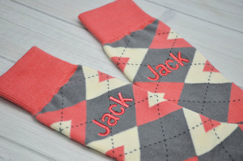 Monogrammed Socks - Personalized Socks - Mens Socks - Mens Argyle Socks - Groomsmen Gifts - Wedding Party Gift - Gray and Coral Argyle Socks