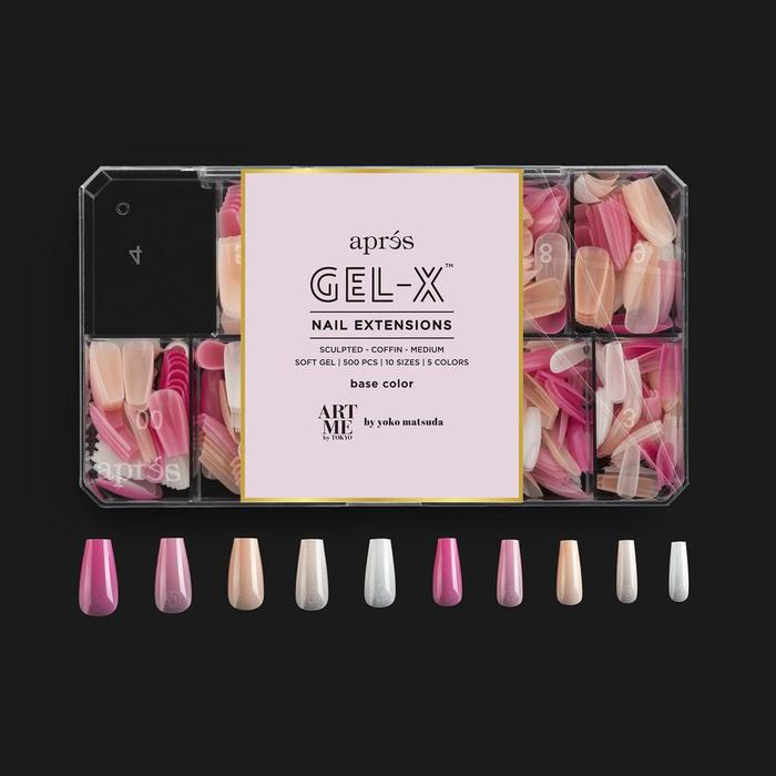 GEL-X TIPS - BASE COLOUR - SCULPTED COFFIN  MEDIUM [500PCS][NEW]