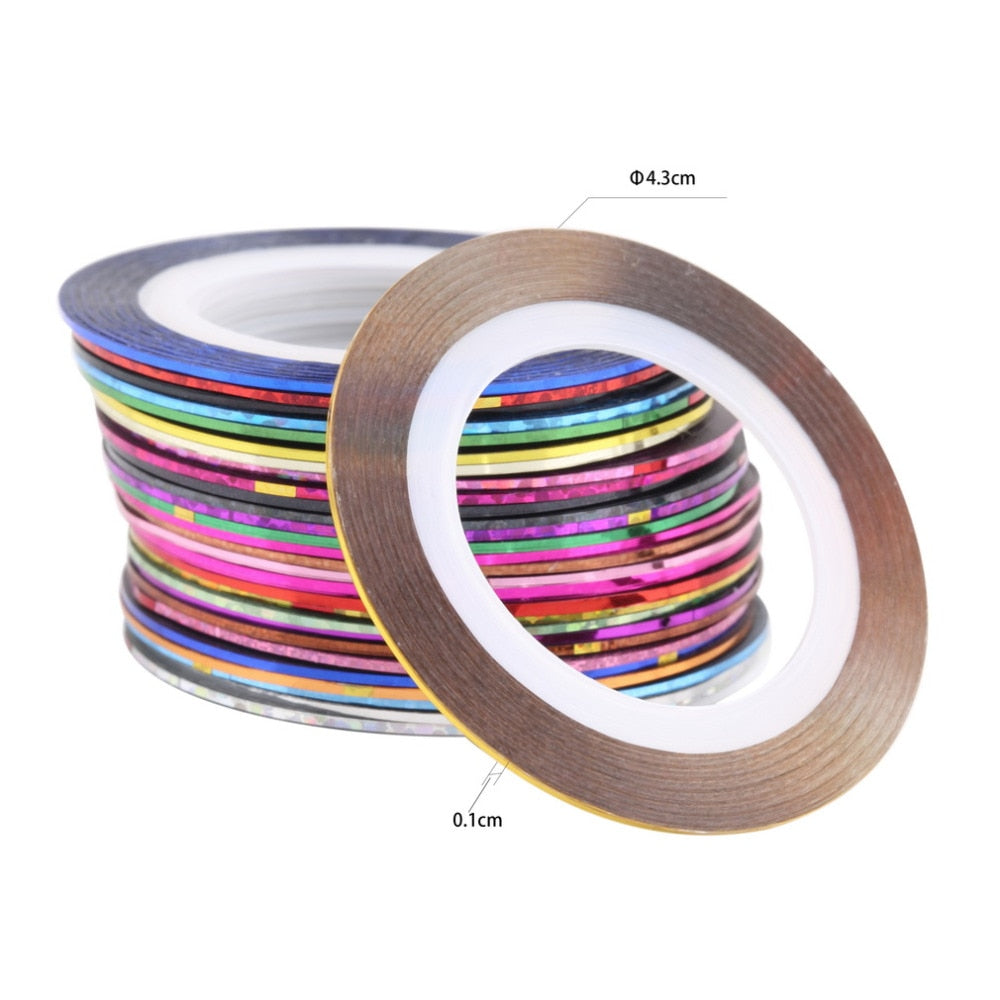 Nail Art Striping Tape - Thin - Set of 30 assorted colours