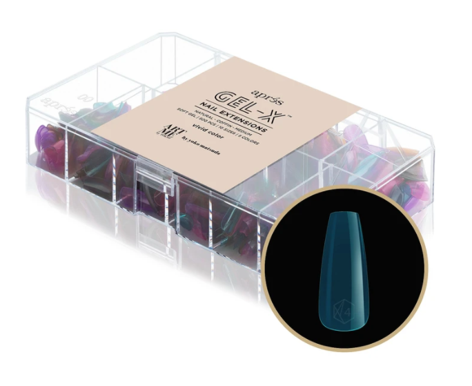 GEL-X TIPS - VIVID COLOUR - NATURAL COFFIN MEDIUM [500PCS]
