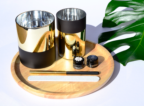 Round Wood & Metallic Desk Set