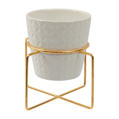 Embossed Ceramic Container with Gold coloured Stand