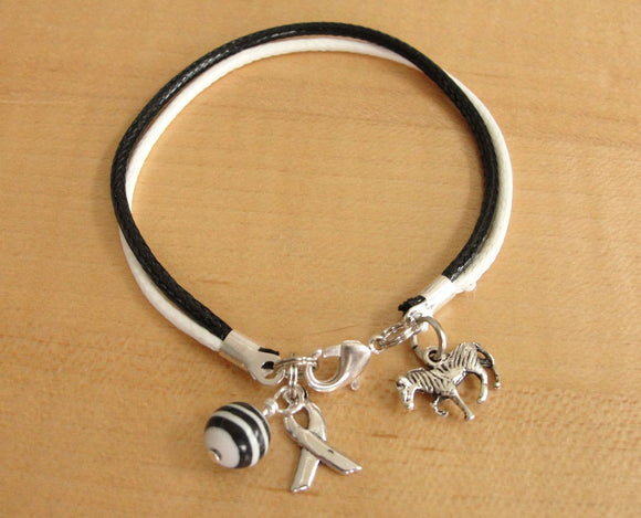 Black and White Awareness Bracelet - Cotton