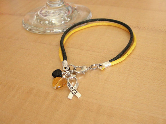 Black and Gold Awareness Bracelet  (Cotton) -  Platelet Disease - Platelet Disorder - Platelet Donor - Twenty2Roses