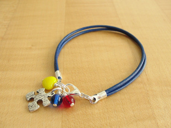 Autism Awareness Bracelet (Leather) - Aspergers Syndrome Awareness - Twenty2Roses